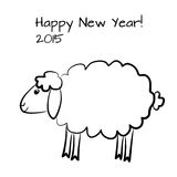 Christmas sheep outline. Vector greeting card with cute sheep outline stock illustration