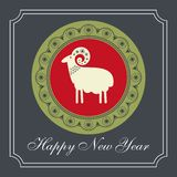 Christmas sheep in the red circle greeting card design Stock Photography
