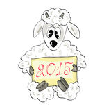 Christmas sheep with the sign. Year of Sheep in the Chinese calendar Stock Image