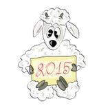 Christmas sheep with the sign Stock Image