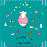 Christmas sheep. Vector illustration of cute Christmas sheep royalty free illustration