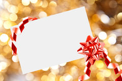 Christmas sheet of paper with bow Royalty Free Stock Photo