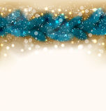 Christmas shimmering background with fir twigs, copy space for y Stock Images