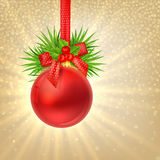 Christmas shine gold background with Red christmas ball Royalty Free Stock Photo