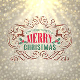 Christmas Shine Golden Greeting Card. Merry Christmas and Holidays wishes retro style vintage frame ornament decoration Stock Photography