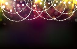 Christmas shining background with garlands, lights and shining rays. Illustration Stock Images