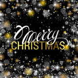 Christmas shining on black background with shiny gold and white. Snowflakes. It is snowing on the background of the creative gift card. Merry Christmas. Vector Royalty Free Stock Photo