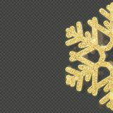 Christmas shining gold snowflake overlay object. EPS 10 vector illustration