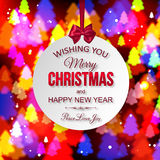 Christmas shining typographical background with Royalty Free Stock Photos