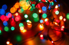 Christmas shiny background with colorful lights Royalty Free Stock Photo