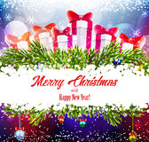 Christmas shiny background with gifts Royalty Free Stock Photo