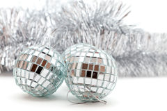 Christmas shiny balls and garlands Royalty Free Stock Photos