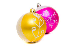 Christmas shiny balls of two colors Royalty Free Stock Photos