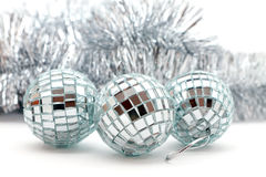 Christmas shiny garlands and balls Royalty Free Stock Image