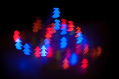 Christmas shiny light bokeh in blue, red colors Royalty Free Stock Photography
