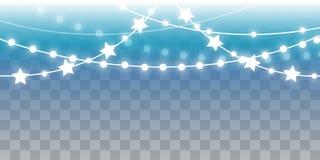 Christmas shiny lights on transparent background. Christmas shiny lights on blue transparent background vector illustration