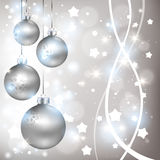 Christmas shiny silver background with balls Stock Photo