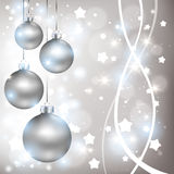 Christmas shiny silver background with balls Stock Image
