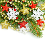 Christmas shiny stars and snowflake Stock Photo