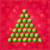 Christmas Shiny Symbolic Green Tree. Happy New Year Card Illustration Stock Photos