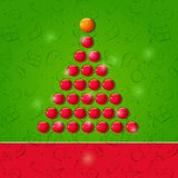Christmas Shiny Symbolic RedTree. Red Christmas Shiny Symbolic Tree Compoded From Shiny Balls . Happy New Year Card Illustration with Place for Text Stock Photography