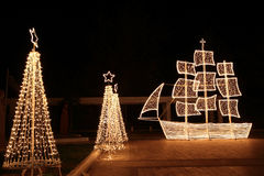 Christmas ship at night Royalty Free Stock Image