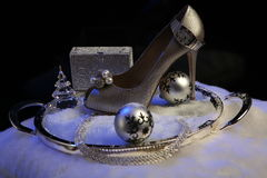 Christmas shoes. Christmas set with women shoe and decoration Stock Photos