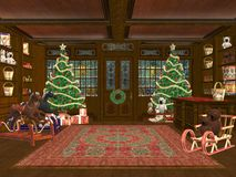 Christmas shop. 3D rendered Christmas shop with tree, presents and decorations Stock Images