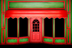 The Christmas Shop. The empty green-red Christmas Shop for your Art Royalty Free Stock Images