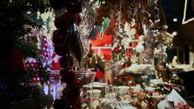 Christmas shop at marketplace stock footage