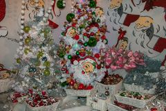 Christmas shop with santa claus on the background in Sant`Elpidio a Mare. Indoor of Christmas shop with santa claus on the background in Sant`Elpidio a Mare royalty free stock photography