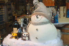 Christmas shop window in Bayeux. Royalty Free Stock Photos