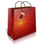 Christmas shoping bag with lable Royalty Free Stock Photo