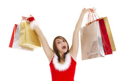 Christmas shopper woman Stock Images