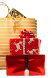 Christmas shopping. Bags and gifts stock photography