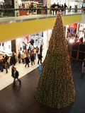 Christmas shopping. Christmas tree decoration in shopping mall royalty free stock images