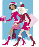 Christmas shopping. Girls can be easily used without shopping bags Royalty Free Stock Photography