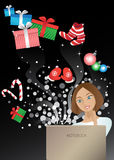 Christmas shopping. The woman buys Christmas gifts through  Internet. The Internet shopping Royalty Free Stock Image