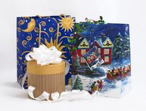 Christmas shopping 3. Christmas (new year) shopping bags with gifts royalty free stock photography