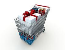 Christmas shopping. Shopping cart with christmas box - digital artwork Royalty Free Stock Photography