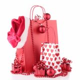 Christmas shopping bag and decoration Royalty Free Stock Images