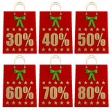 Christmas  Shopping Bags with discounts Royalty Free Stock Photo