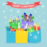 Christmas shopping bags, package with candy, lollipops, toys, fireworks isolated on background. Big sale. Pile of presents, royalty free illustration