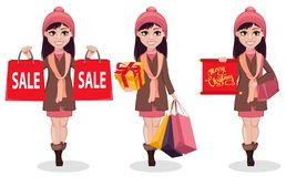 Christmas Shopping. Beautiful Girl, Set Of Three Poses. Royalty Free Stock Photography