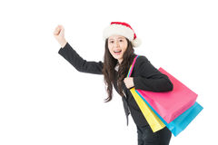 Christmas shopping business woman with gift bag joyful Royalty Free Stock Photos