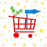 Christmas shopping cart. Shopping cart with holly and blank direction board Royalty Free Stock Images