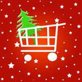 Christmas shopping cart. Shopping cart with christmas tree on stars background Stock Image