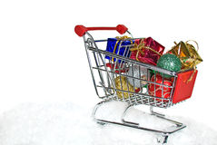 Christmas shopping cart Stock Image
