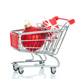 Christmas shopping cart Stock Photo