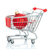 Christmas shopping cart Royalty Free Stock Photos